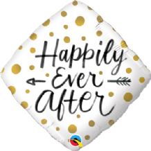 "Happily Ever After Gold Dots Foil Balloon (18"") 1pc"